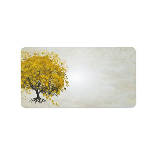 Whimsical Yellow Golden Rod Heart Leafed Tree Address Label