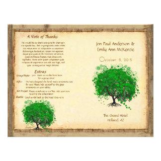 Whimsical Yellow Heart Leaf Tree Wedding Program Custom Flyer