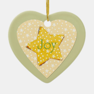 Whimsical Yellow Stars Joy Christmas Ornament
