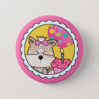 Whimsical Yorkie Birthday Girl 6 Cm Round Badge