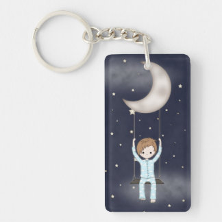 Whimsical Young Boy Swinging from the Moon Key Ring