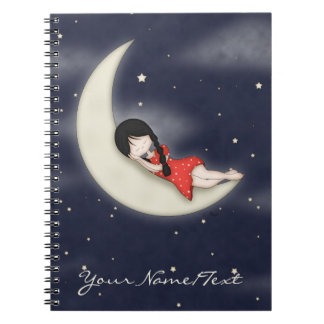 Whimsical Young Girl Asleep on the Moon Notebook