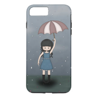 Whimsical Young Girl in the Rain with Umbrella iPhone 8 Plus/7 Plus Case