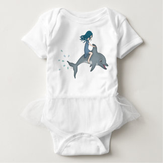 Whimsical Young Girl Riding upon a Dolphin Baby Bodysuit