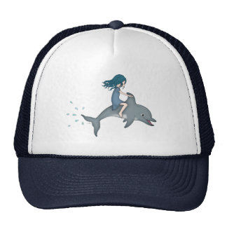 Whimsical Young Girl Riding upon a Dolphin Cap