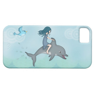 Whimsical Young Girl Riding upon a Dolphin Case For The iPhone 5