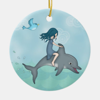Whimsical Young Girl Riding upon a Dolphin Christmas Ornament