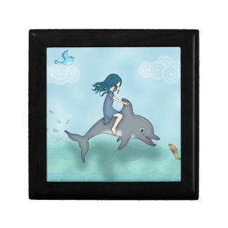 Whimsical Young Girl Riding upon a Dolphin Gift Box
