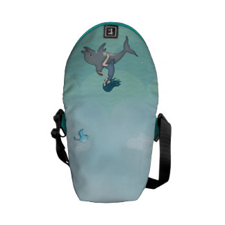 Whimsical Young Girl Riding upon a Dolphin Messenger Bags