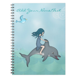 Whimsical Young Girl Riding upon a Dolphin Notebook