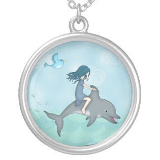 Whimsical Young Girl Riding upon a Dolphin Silver Plated Necklace