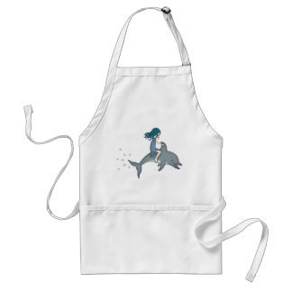 Whimsical Young Girl Riding upon a Dolphin Standard Apron