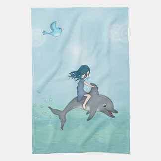 Whimsical Young Girl Riding upon a Dolphin Tea Towel