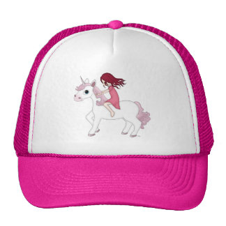 Whimsical Young Girl Riding upon a Unicorn Cap