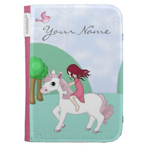 Whimsical Young Girl Riding upon a Unicorn Cases For Kindle