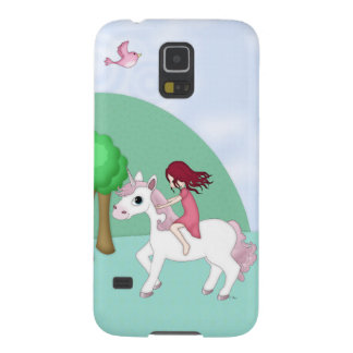 Whimsical Young Girl Riding upon a Unicorn Case For Galaxy S5
