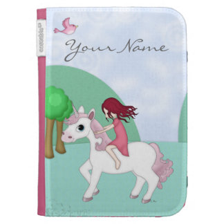 Whimsical Young Girl Riding upon a Unicorn Kindle Keyboard Case