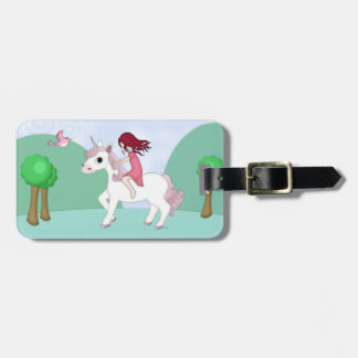 Whimsical Young Girl Riding upon a Unicorn Luggage Tag