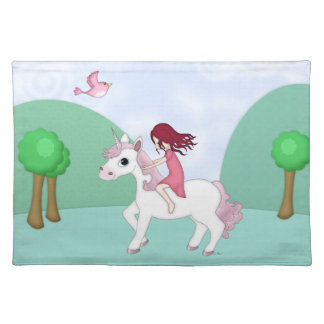 Whimsical Young Girl Riding upon a Unicorn Placemat