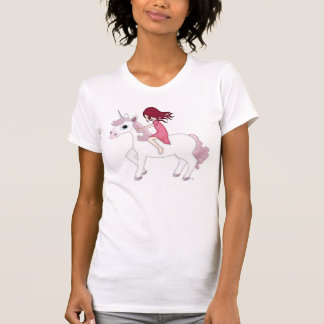 Whimsical Young Girl Riding upon a Unicorn T-Shirt