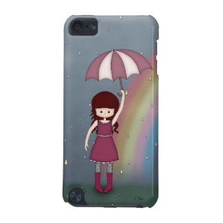 Whimsical Young Girl Standing in Colorful Rain iPod Touch 5G Covers