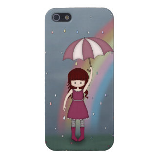 Whimsical Young Girl Standing in Colorful Rain iPhone 5 Cover