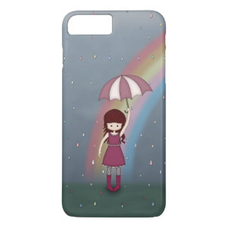 Whimsical Young Girl Standing in Colorful Rain iPhone 8 Plus/7 Plus Case