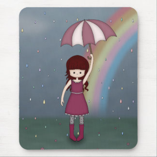 Whimsical Young Girl Standing in Colorful Rain Mousepad