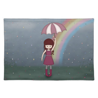 Whimsical Young Girl Standing in Colorful Rain Placemat
