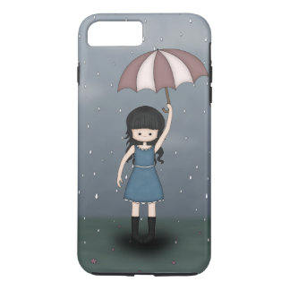 Whimsical Young Girl Standing in the Rain iPhone 7 Plus Case