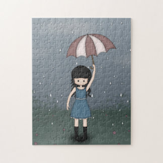 Whimsical Young Girl Standing in the Rain Jigsaw Puzzle