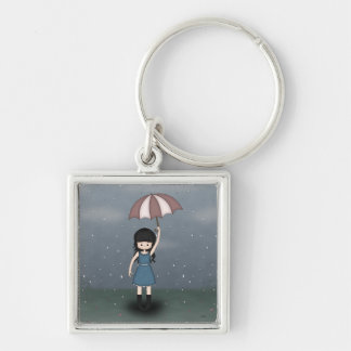 Whimsical Young Girl Standing in the Rain Key Ring
