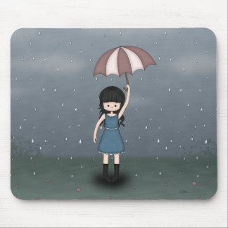 Whimsical Young Girl Standing in the Rain Mouse Pad