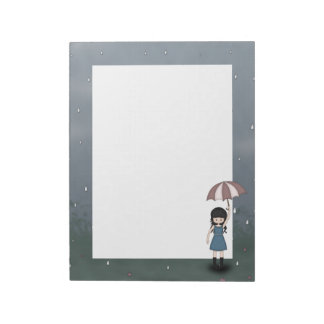 Whimsical Young Girl Standing in the Rain Notepad