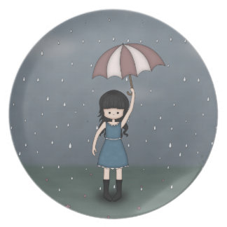 Whimsical Young Girl Standing in the Rain Plate