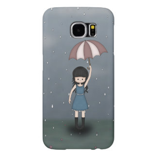 Whimsical Young Girl Standing in the Rain Samsung Galaxy S6 Cases