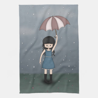 Whimsical Young Girl Standing in the Rain Tea Towel