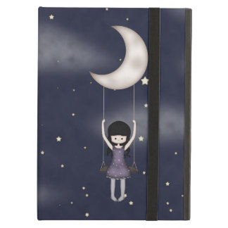 Whimsical Young Girl Swinging on the Moon iPad Air Cover