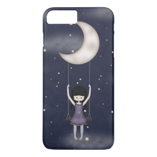 Whimsical Young Girl Swinging on the Moon iPhone 8 Plus/7 Plus Case
