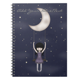 Whimsical Young Girl Swinging on the Moon Notebook