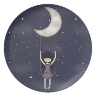 Whimsical Young Girl Swinging on the Moon Plate