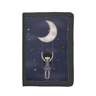 Whimsical Young Girl Swinging on the Moon Tri-fold Wallet