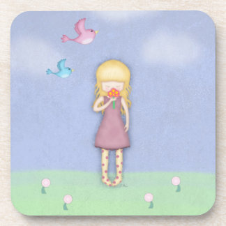 Whimsical Young Girl with Bouquet of Flowers Beverage Coasters