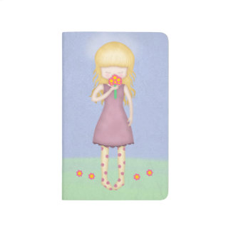 Whimsical Young Girl with Bouquet of Flowers Journals