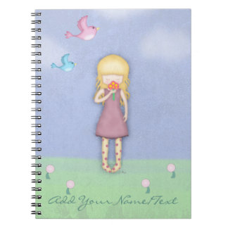 Whimsical Young Girl with Bouquet of Flowers Notebook
