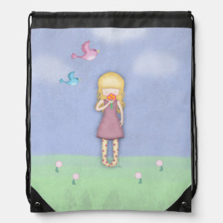 Whimsical Young Girl with Flowers Illustrated Drawstring Bag