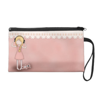 Whimsical Young Girl with Music Headphones Wristlet Purses