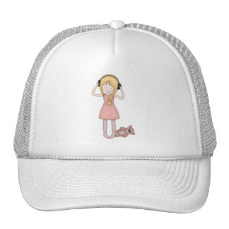 Whimsical Young Girl with Music Headphones Cap