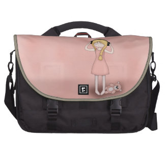 Whimsical Young Girl with Music Headphones Bags For Laptop