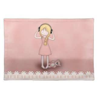 Whimsical Young Girl with Music Headphones Placemat